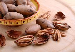 pecan nuts closeup - stock photo
