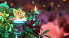 Dancing couples, burning candle and beautiful flowers. Traditional Vienna ball. Stock Footage