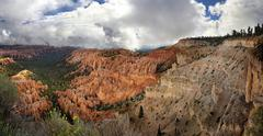 View from Bryce Point Lookout over Bryce Amphitheater landscape formed by - stock photo