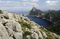 Lookout point coastline Cap de Formentor Majorca or Mallorca Spain Europe - stock photo