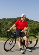 Cyclist 44 years with a racing cycle Winterbach Baden Wurttemberg Germany Stock Photos