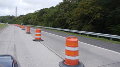 High speed driving fast driving  construction safety barrels drums cones 6 Stock Footage