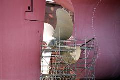 Maintenance of a ship39s propeller in drydock Hamburg Port Hamburg Hamburg Stock Photos
