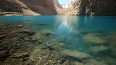 Beautiful lake in the Fann mountains, Tajikistan - stock footage