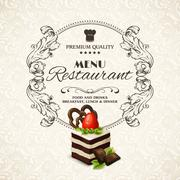 Sweets dessert restaurant menu - stock illustration