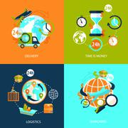 Logistic icons set Stock Illustration