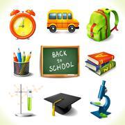 Stock Illustration of Realistic school education icons set