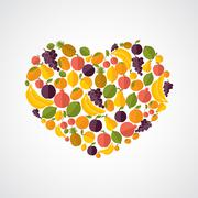 Stock Illustration of healthy food heart composition