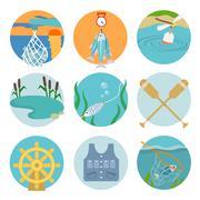 Set of fishing icons Stock Illustration