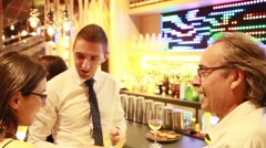 Business Networking Drinks Event in a Trendy Bar Stock Footage