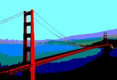 Golden gate bridge, illustration Stock Illustration