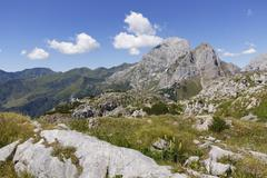 Summit plateau of Kleiner Pal Mountain view towards Cellon Mountain Carnic Alps Stock Photos