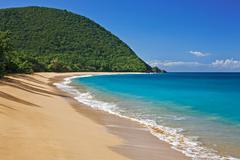 Beach of Plage de Grande Anse Deshaies Arrondissement of Basse Terre Stock Photos
