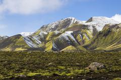 Snow capped mountains Landmannalaugar Southern Region Iceland Europe Stock Photos