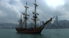 Historical Ship in Hong Kong Stock Footage