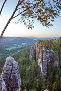 View from the Bastei rock formation in the morning light Saxon Switzerland - stock photo