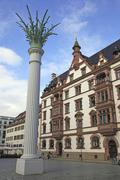 Predigerhaus historic building with the Nikolai Column commemorating the Monday - stock photo