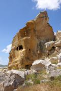Ancient cave houses in volcanic tuft rock formations Love Valley Goreme Stock Photos