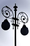 Silhouette of a street lamp Plaza San Antonio Cadiz Andalusia Spain Europe Stock Photos