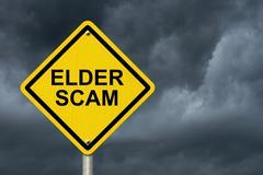 Elder scam warning sign Stock Photos