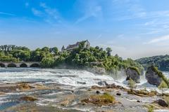 rheinfall, waterfall of the river rhein at neuhausen, schaffhausen, switzerla - stock photo