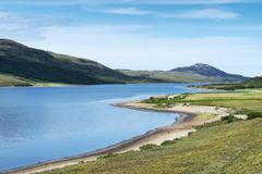 the 9.5 km long and 1.2 km wide freshwater loch hope, inverhope, northern hig - stock photo