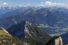 Ebner Joch Pass and the Tux Alps seen from Hochriss Mountain in Rofan Maurach - stock photo