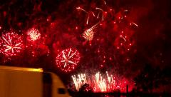 4K UHD - 60fps or 30fps - Fireworks display with truck passing by Stock Footage