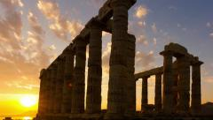 Golden sunset Ancient Temple of Poseidon Sounio Greece panolapse panning Stock Footage
