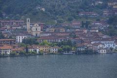 Sulzano on Lake Iseo and Lake Iseo Monte Isola Peschiera Maraglio Brescia Italy Kuvituskuvat