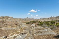 Dry and wide erosional landscape with rocks and trees Isalo National Park at Stock Photos