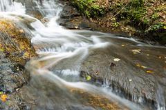 Waterfall at Struempfelbach stream Schwabisch Frankischer Wald Stock Photos