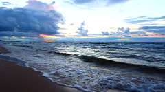 Sunset over Lake Superior Waves Stock Footage
