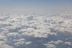 Aerial view cumulus clouds Pyrenaen Andorra Spain Europe - stock photo
