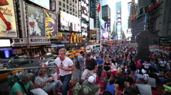 Crowded Times Square People in Manhattan New York City NYC Crowd USA Slow Motion - stock footage