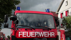 Fire truck with blue light Stock Footage