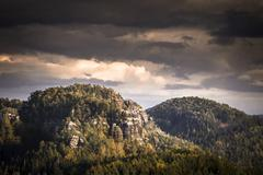 Stock Photo of View from Kuhstall lookout point Elbe Sandstone Mountains Saxony Germany Europe
