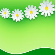 floral frame, background with 3d chamomile - stock illustration