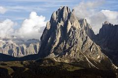 view over the seiser alm on mt. sassolungo, in the back the gruppo sella grou - stock photo