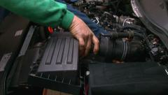 Car Repair Disassembling the Ventilation System Stock Footage