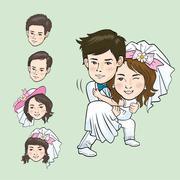 Wedding Cartoon - stock illustration