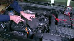 Car Repair Cheking Diesel Engine - stock footage