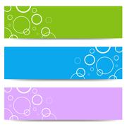 Set of color banners with white circles - stock illustration