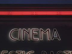 Cinema, neon lettering on a movie theater, paris, france, europe Kuvituskuvat