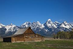 john and bartha moulton homestead, mormon barn, old barn of the mormons, gran - stock photo