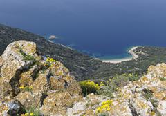Overlooking the sandy beach below lubenice on cres, croatia, europe Stock Photos