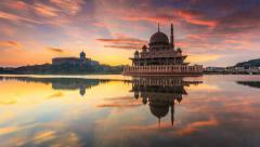 Timelapse of a Sunrise at Masjid Putra, Putrajaya, Malaysia Stock Footage