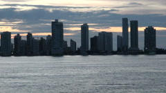 View Of Apartment Towers in Cartagena, Colombia - Skyscapers by night  - stock footage
