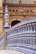 Railing of a bridge on the plaza de espana in seville, spain, europe Stock Photos