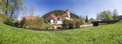panorama of the altdorf village with the anlauter river and spring meadow, ei - stock photo